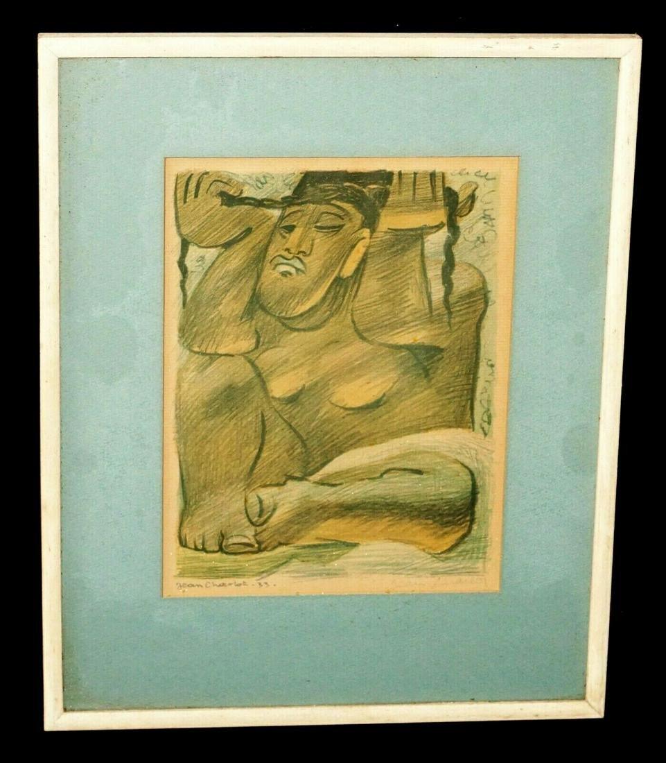 33 Mexico Print Seated Female Figure Jean Charlot