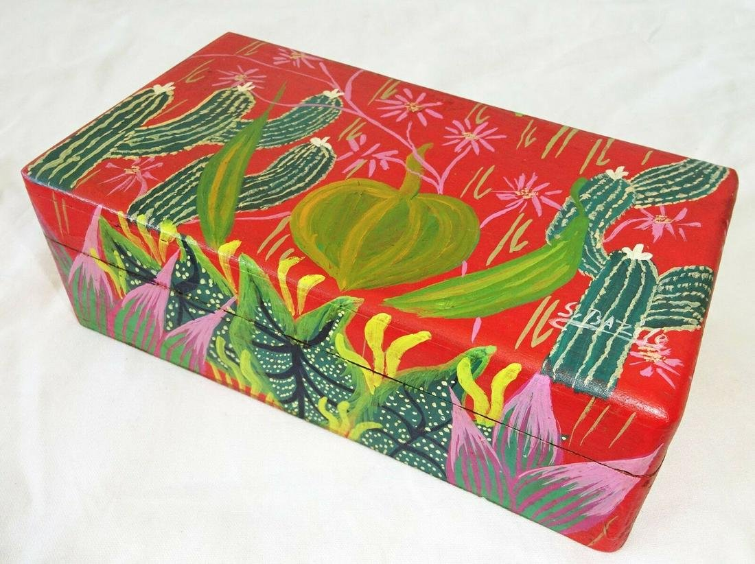 80s Haitian Covered Boxes Cactus Motif S. Bazile