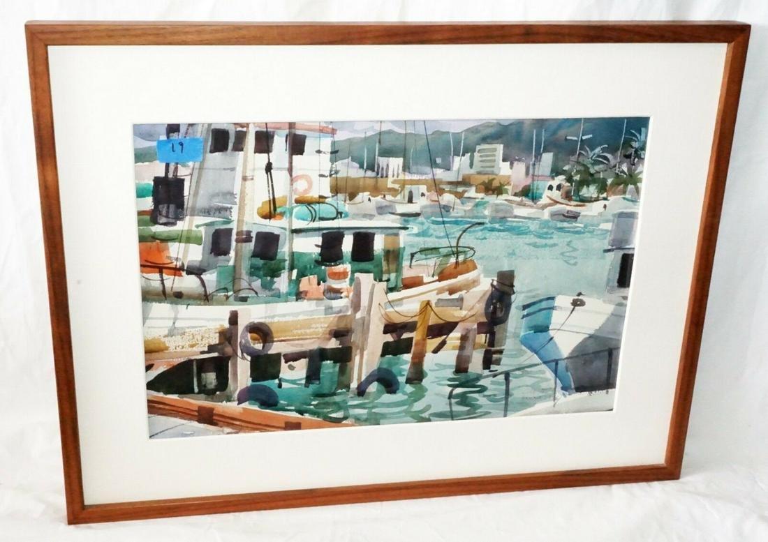 78 Hawaii Watercolor Painting Honolulu Harbor Tom Hill