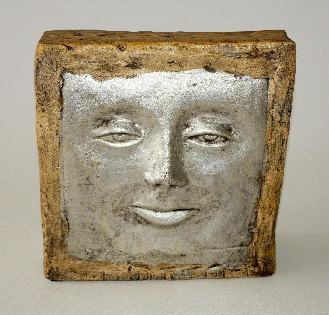 Sculpture Rectangular Silver Face by Olen L Bryant