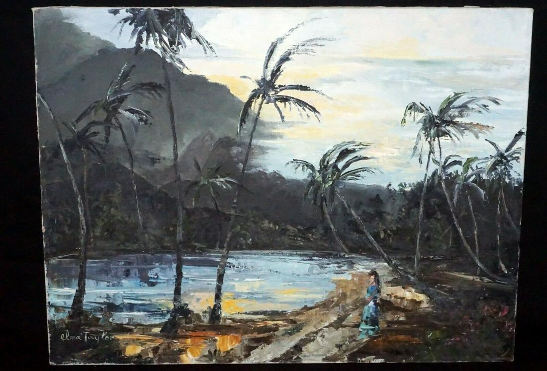 66 Tahitian Oil Painting Sunset Tahiti Elma Taylor