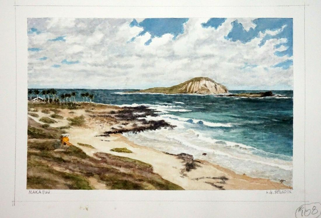 Hawaii WC Painting Makapuu & Sandys by L. Segedin