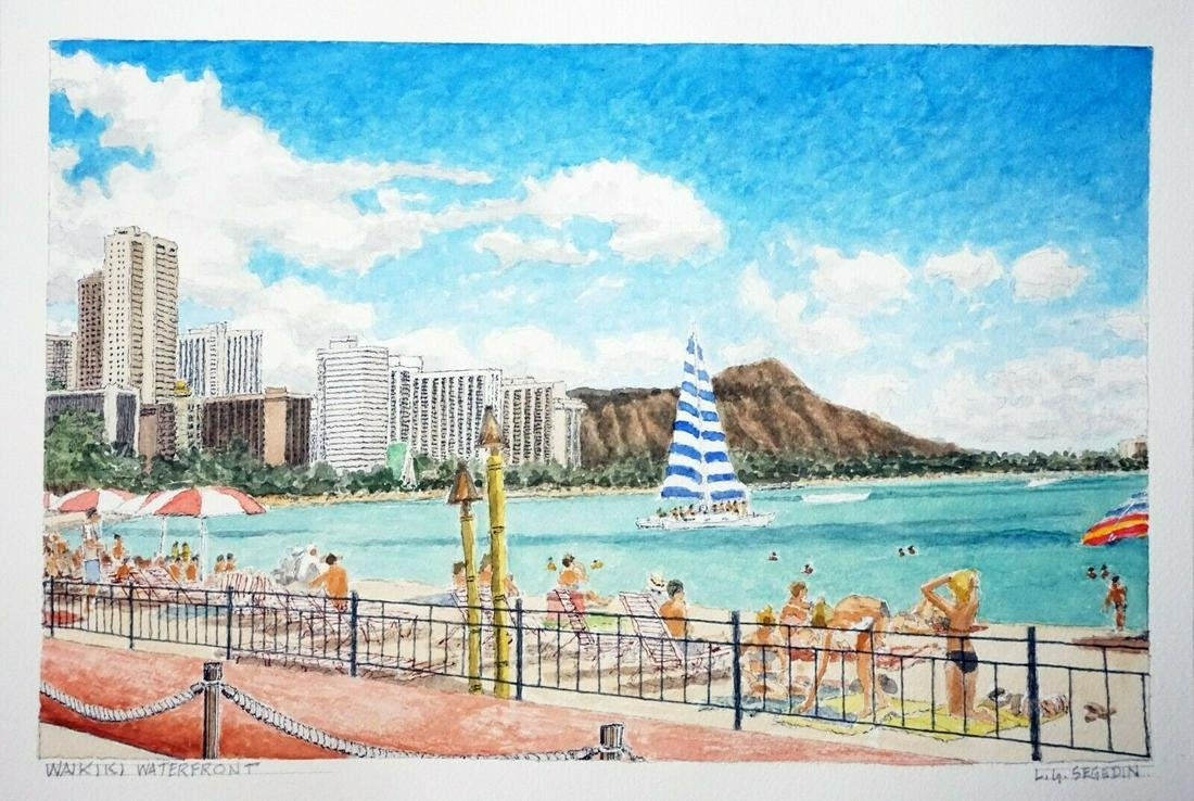Watercolor Painting Waikiki Diamond Head L. Segedin