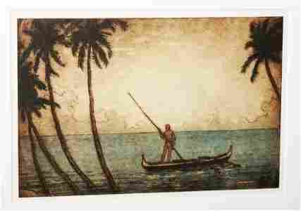 23 Color Etching Man in Outrigger Charles Bartlett