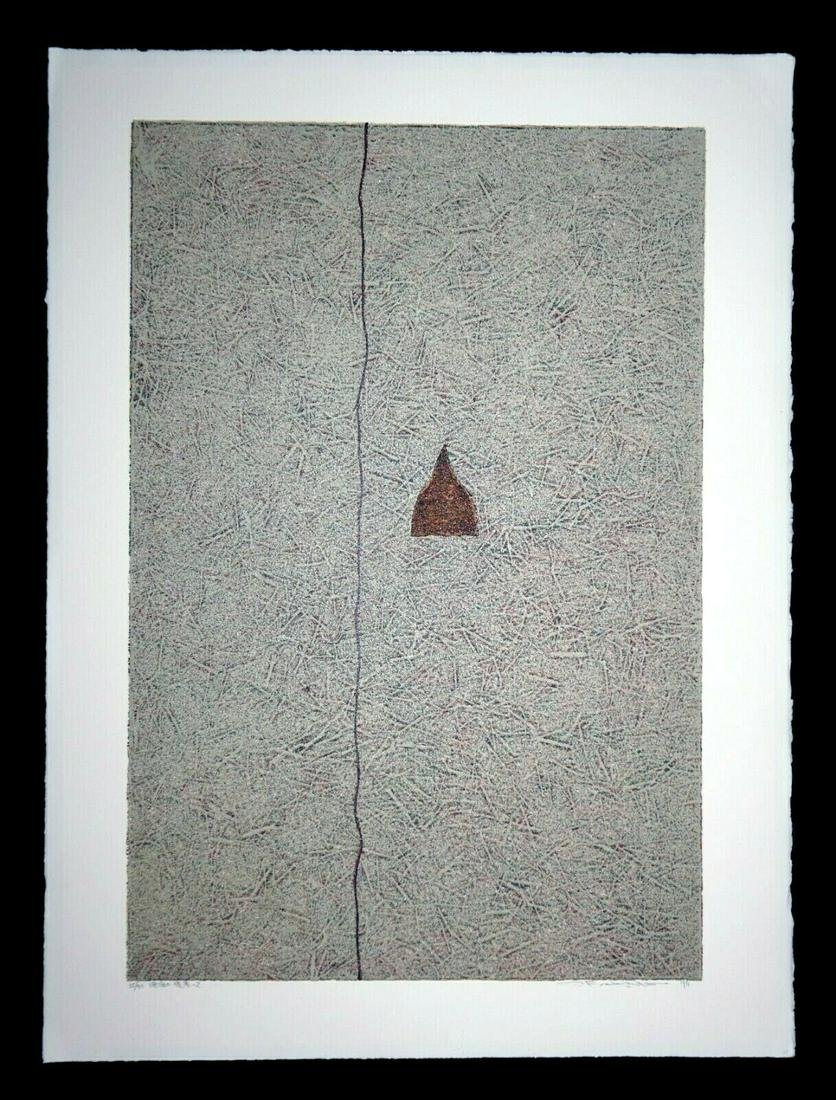 97 Japanese Screen Print Red Triangle illegible