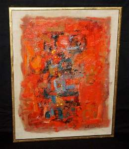 70s Hawaii Red Abstract Impasto Oil John Young