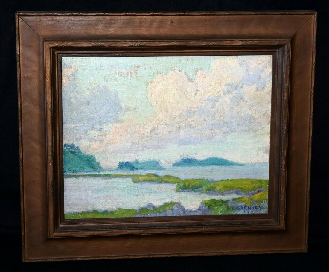 1921 Hawaii Oil Painting Sea Elmer Ellsworth Garnsey