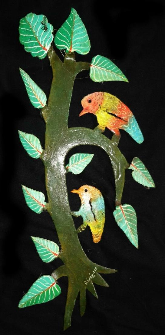 80s HAITIAN SCULPTURE BIRDS A. LEANDRE