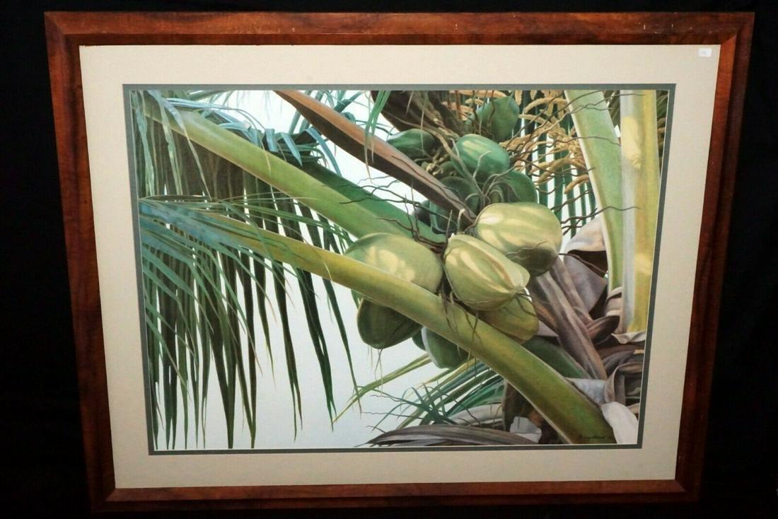90 Hawaii Koa Print Coconut Palms Gary Reed