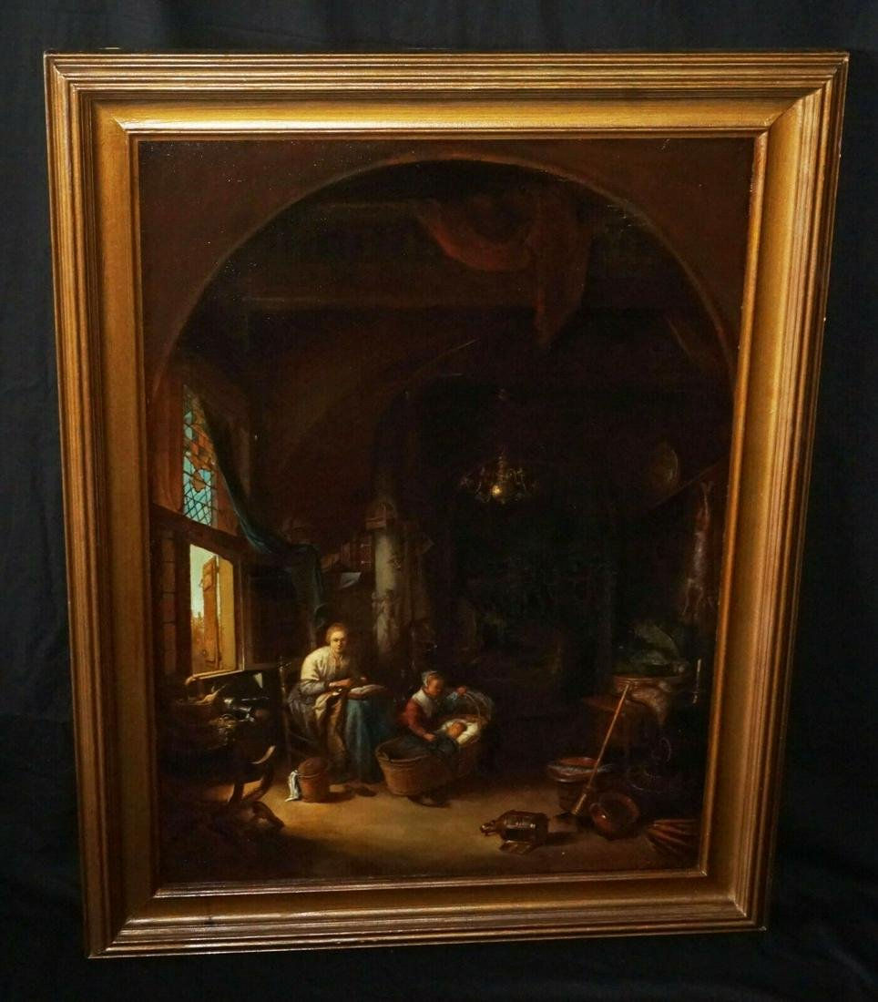 Vintage Dutch Interior Scene Oil Painting Repro
