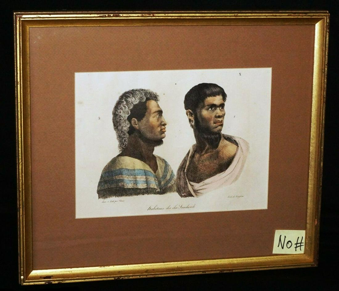 1820 Koa Colored Print Habitans des Iles Sandwich