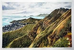 Hawaii WC Painting On the Pillbox Trail L Segedin
