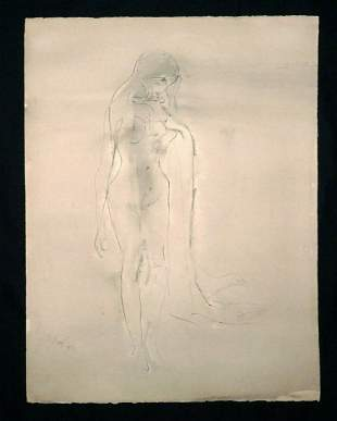 India WC Wash Painting Female Nude Kaiko Moti