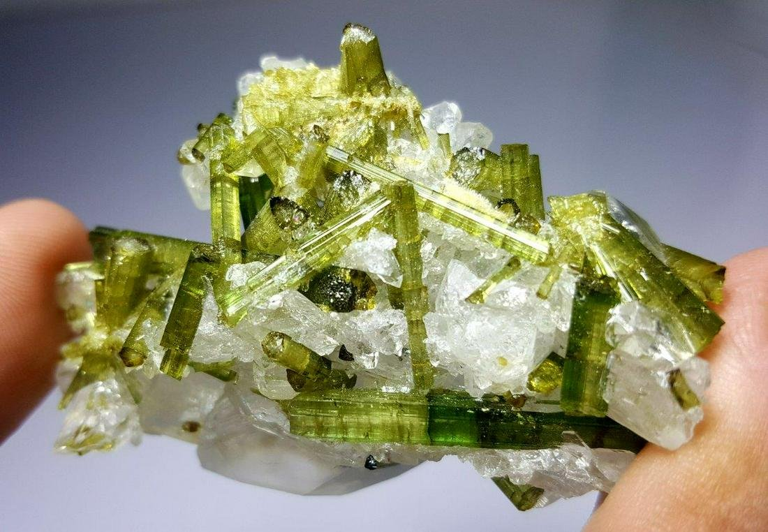 39.8 Grams Green tourmaline Cluster Combined With