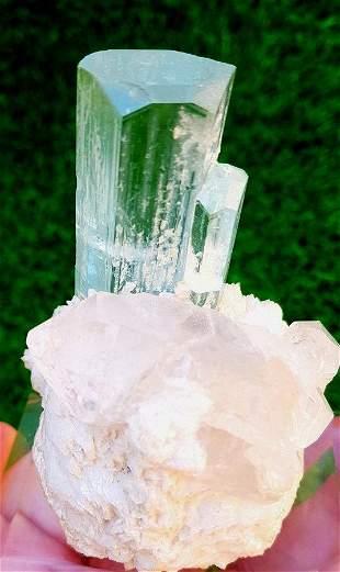 Aquamarine Natural Aquamarine Crystal with Quartz and