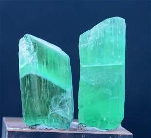 43 Grams 2 Pieces Green Color Kunzite Hiddenite Crystal