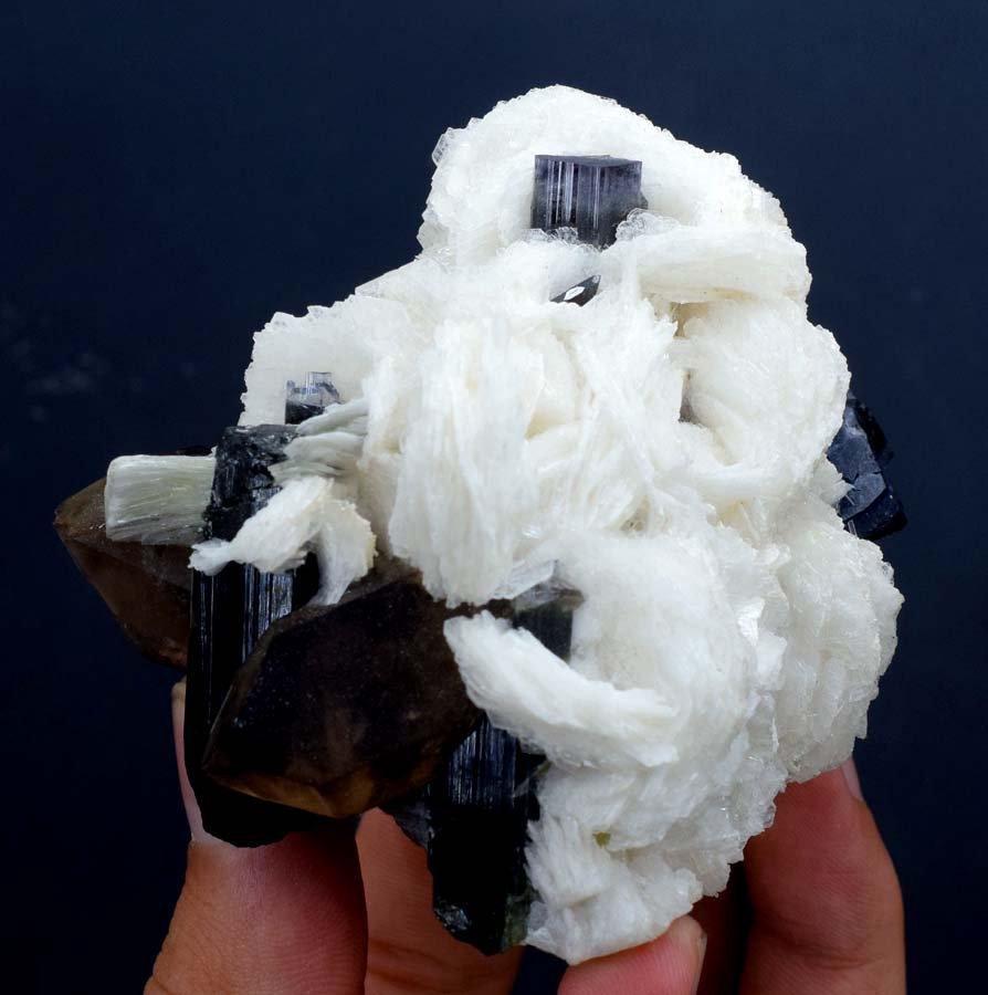 Tourmaline , Blue Cap Tourmaline Crystals with Smoky