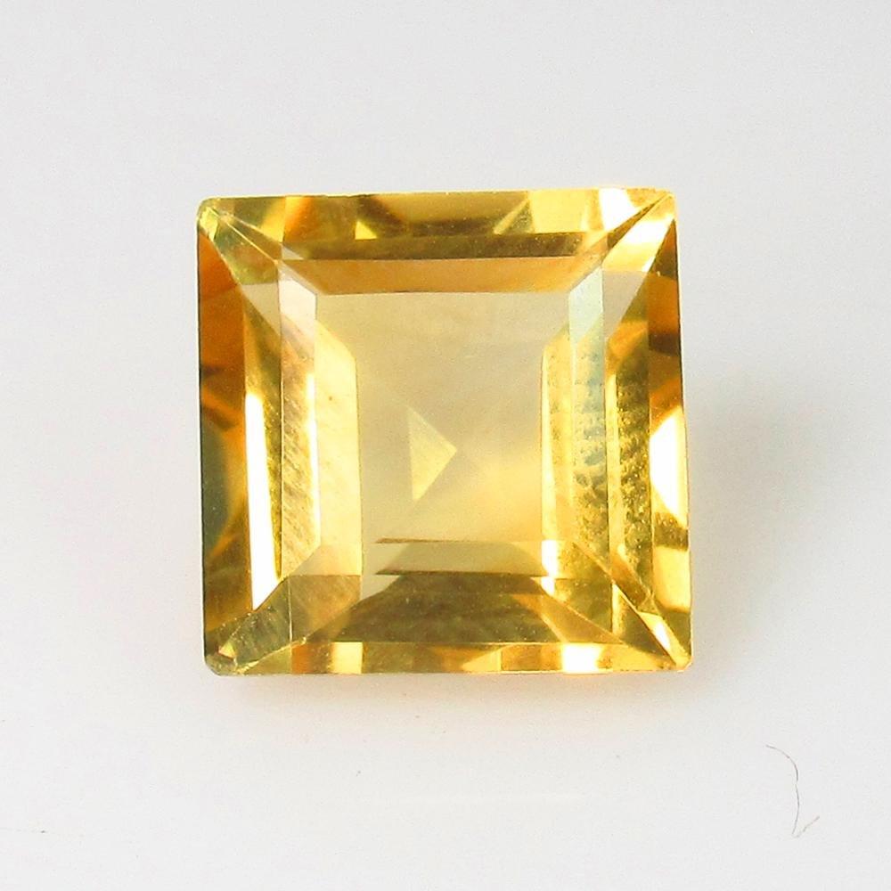 3.29 Ctw Natural Yellow Citrine Square Cut