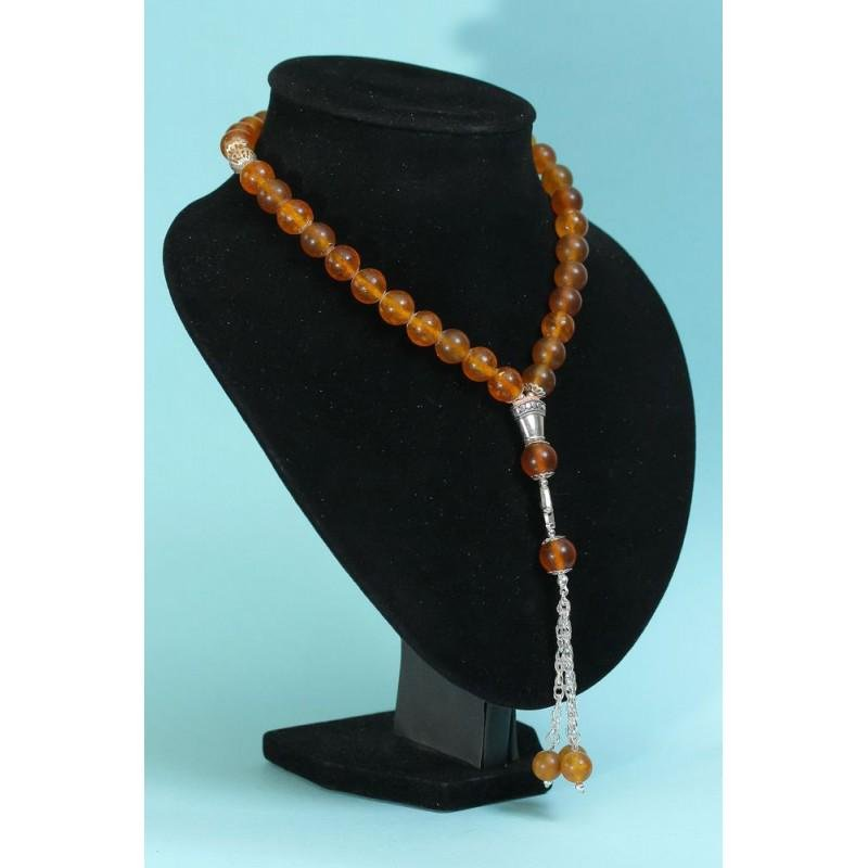 49 g. Natural Baltic amber rosary / mala cognac color