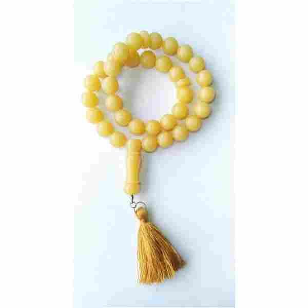 40 g. Natural Baltic amber rosary imam yellow amber