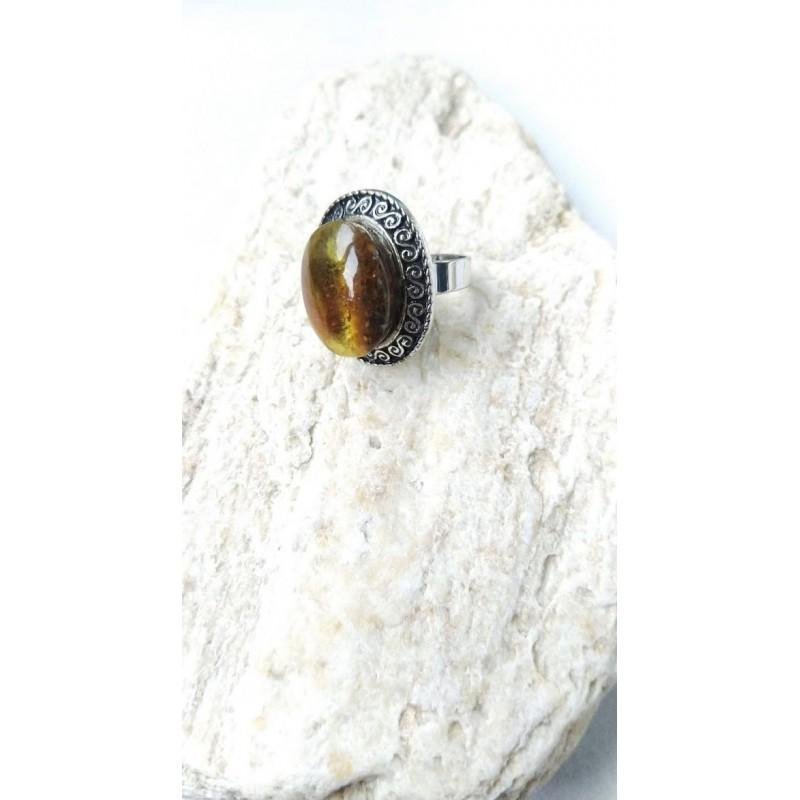 Antique Baltic amber ring vintage transparent