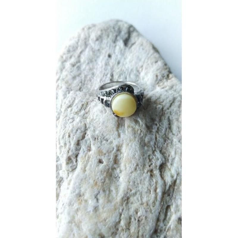 Antique Baltic amber ring vintage yellow round with