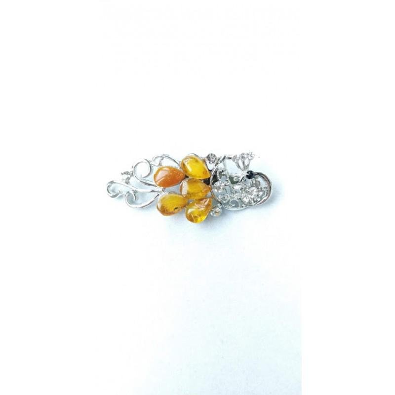 11.8 g. 100% natural Baltic amber brooch Firebird