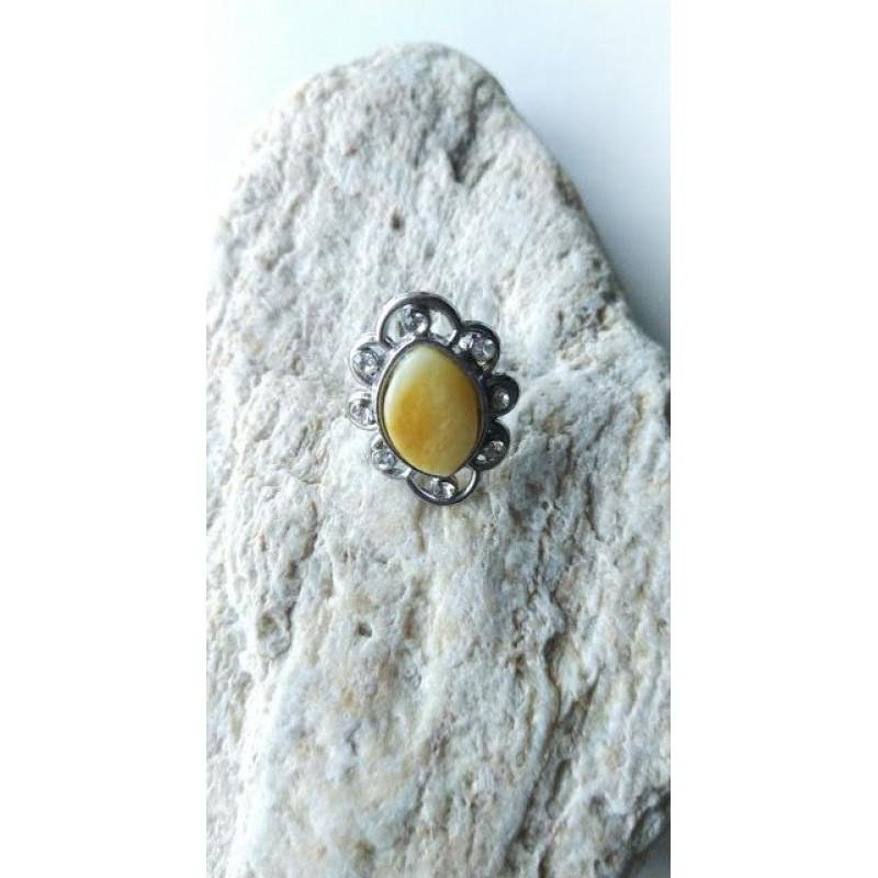 Antique Baltic amber ring vintage yellow with