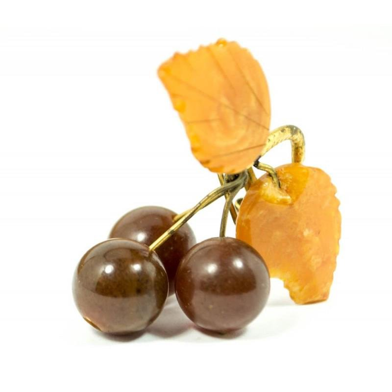 100% natural Baltic amber brooch vintage berries