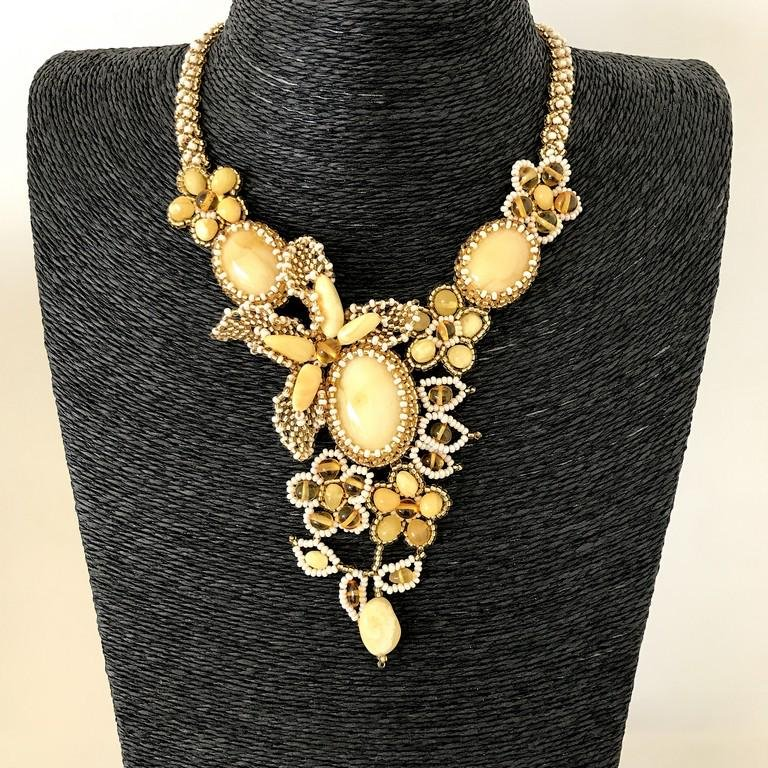 Amazing Vintage Amber Floral Necklace made from leaf