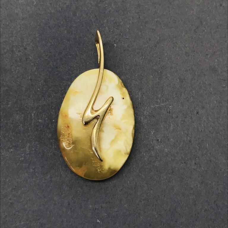 Phenomenal Amber Pendant shaped like a Drop