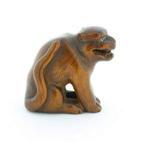 Wooden Netsuke, Growling Dog, Original Japanese