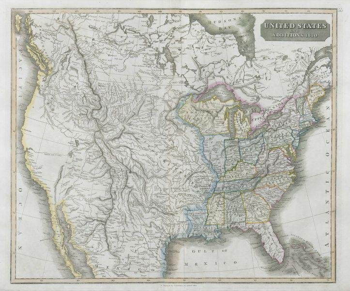 """""""United States & additions to 1820"""". 23 states. Indian"""