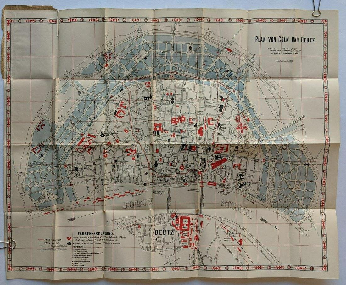 ca. 1900 MAP of COLOGNE GERMANY COLORFUL FOLDING