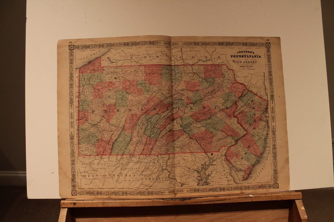 1864 Map of Pennsylvania and New Jersery