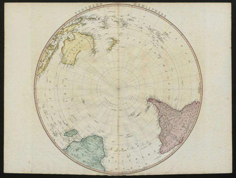Southern Hemisphere. Antarctic South Pole/America New