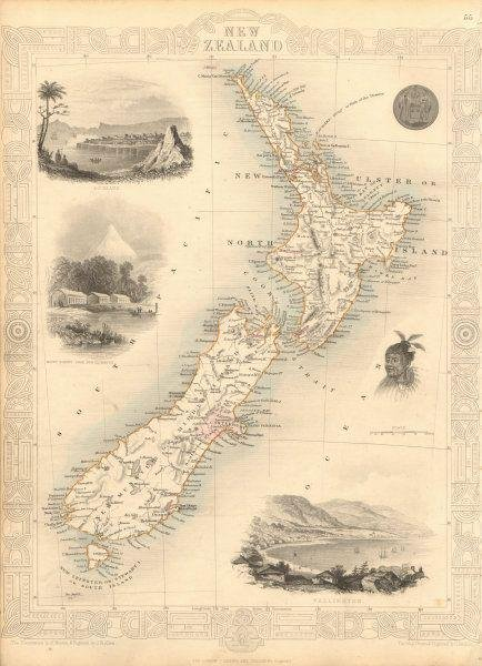 NEW ZEALAND showing NZ Company settlements in 1851.