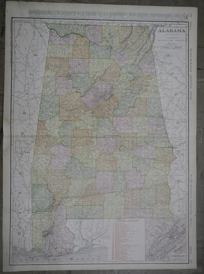 Rand, McNally & Co.'s New Business Atlas Map of Alabama