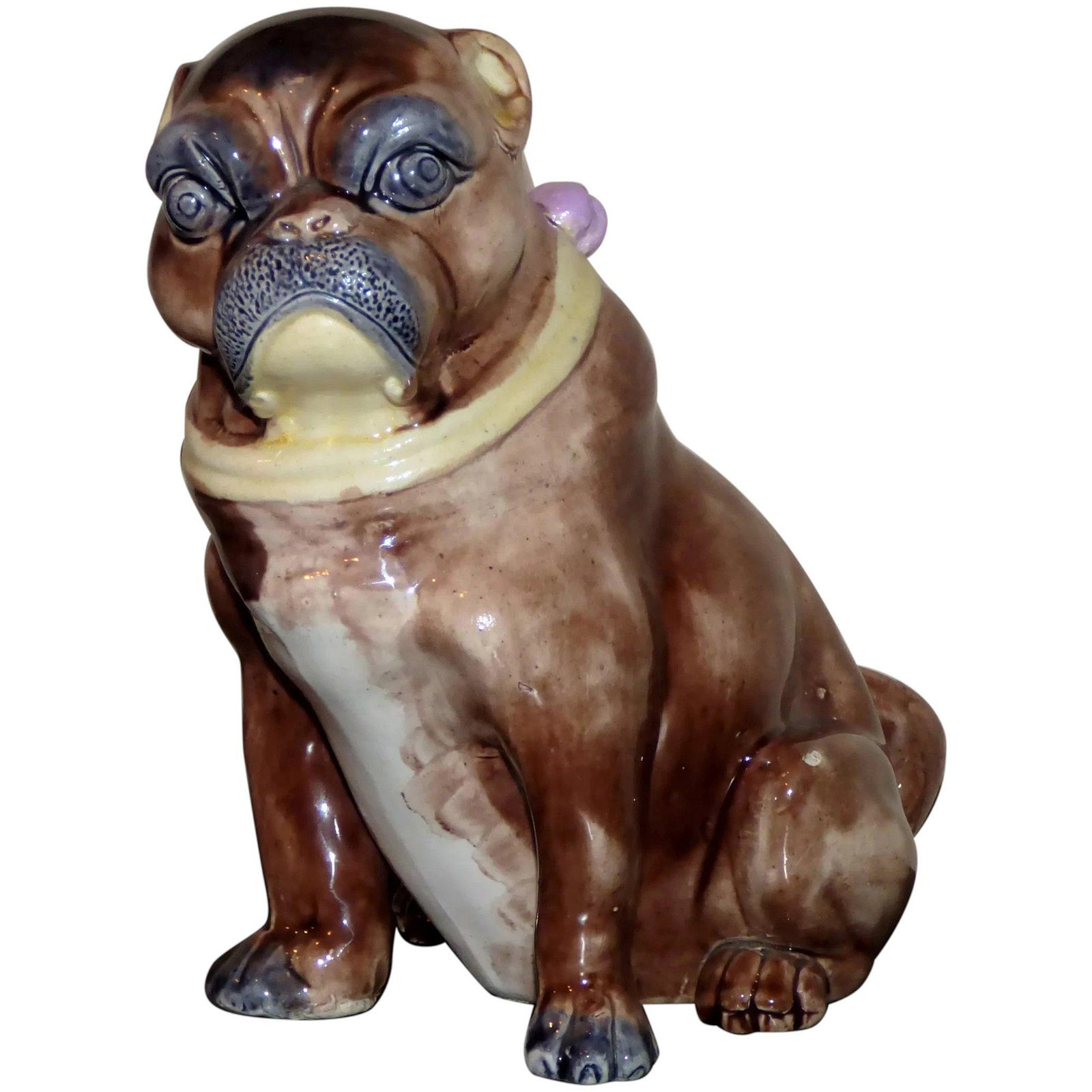 Victorian 19th Century Majolica Pug