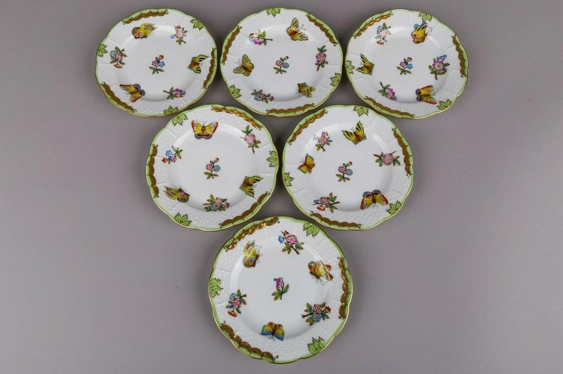 Set of Six Herend Queen Victoria Small Dessert Plates