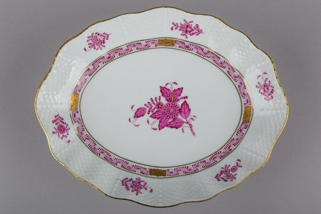 Herend Chinese Bouquet Raspberry Oval Dish #212/AP