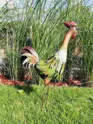 Metal rooster Garden Sculpture xl standing colored