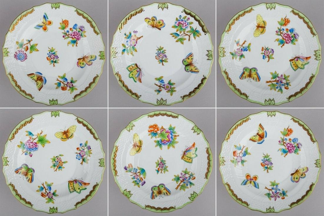 Set of Six Herend Queen Victoria Dessert Plates, 6