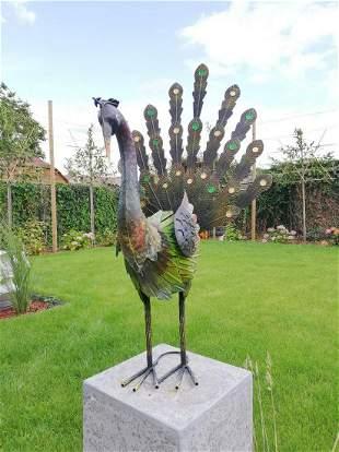 Magnificent Peacock sculpture