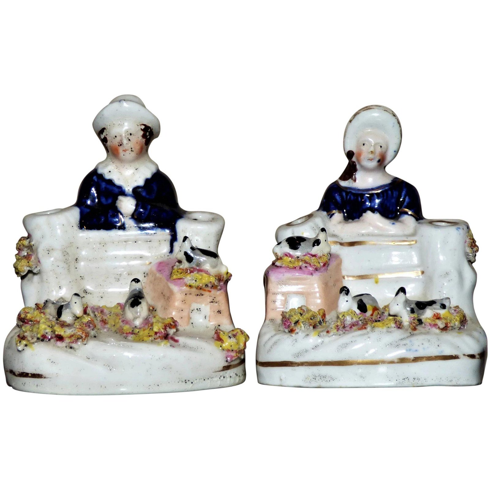 Pair of Victorian Staffordshire Quill Holders with
