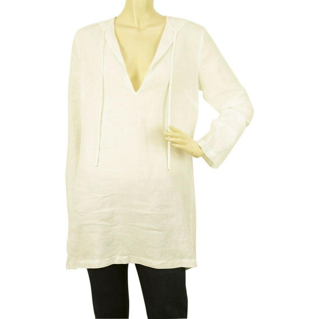 Juicy Couture White 100% Linen Hooded Tunic Blouse Long
