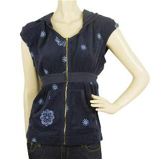 Juicy Couture Blue Cup Sleeve Floral Zipper Closure