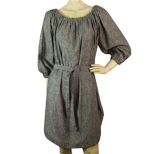 KORI Gray Cotton Linen Just Above Knee Length Belted
