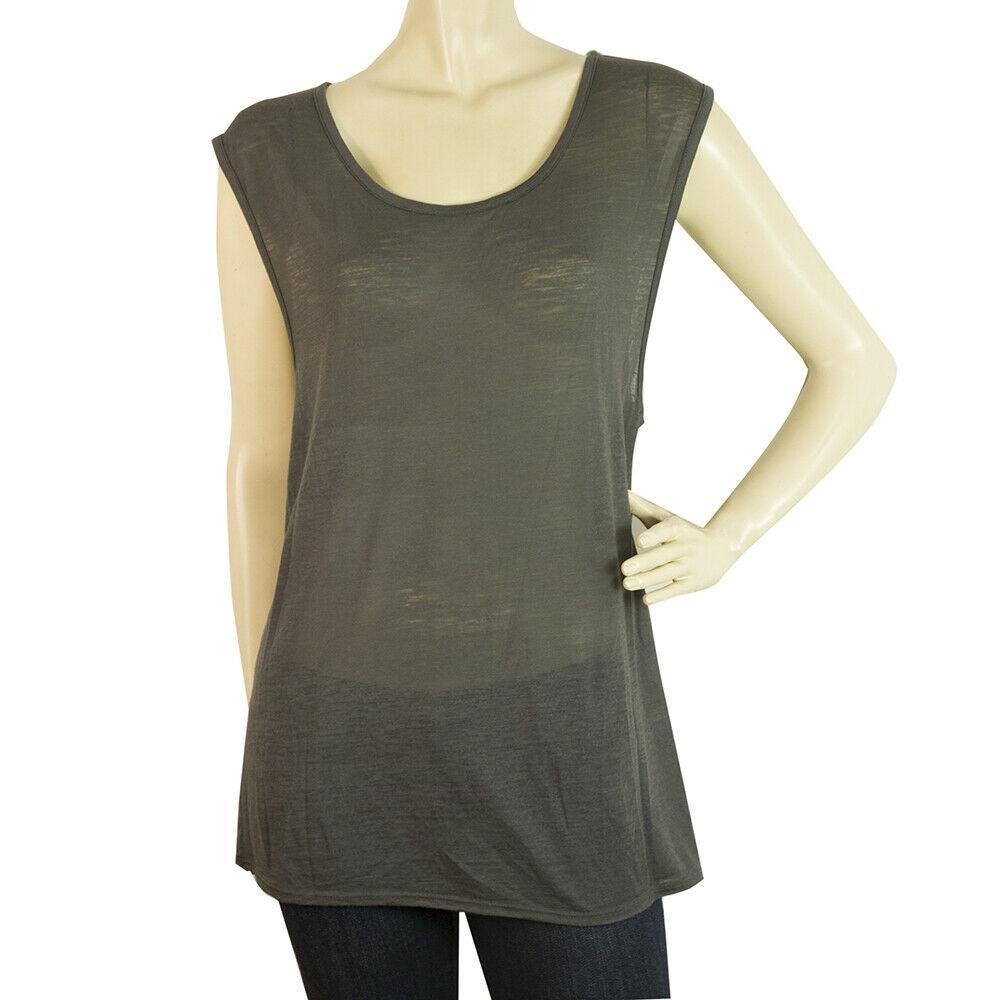 Helmut Lang Gray Long Blouse Wide Cap Sleeves T-Shirt