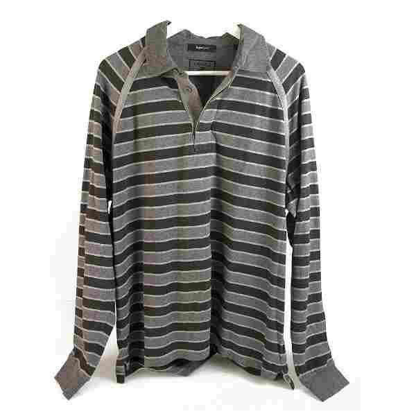 Zegna Sport Two Tone Gray Stripes Long Sleeve Cotton